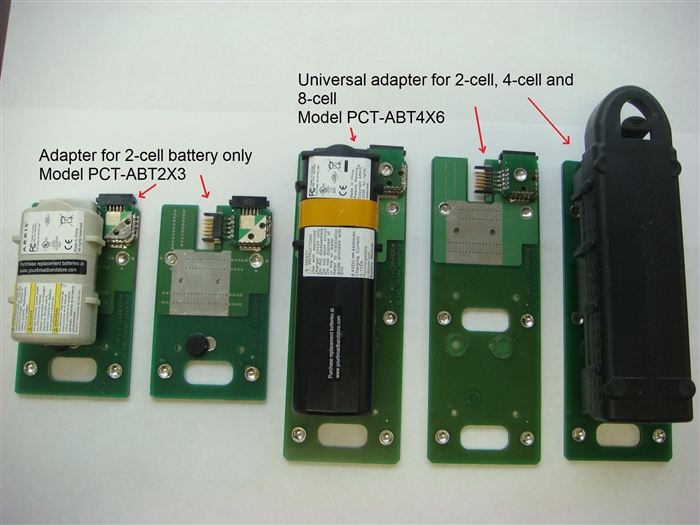 Image showing 2 different adapters, first one for 2 cell batteries only and second one universal adapter for 2,4 and 8 cell batteries