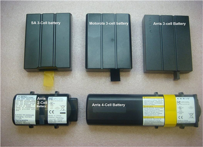 Image of SA 3-cell battery, Motorola 3-cell battery, Arris 3-cell battery, Arris 2-cell battery and Arris 4-cell battery